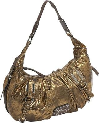 Guess Women's Eye Catching Bronze Vinyl Handbag: Handbags