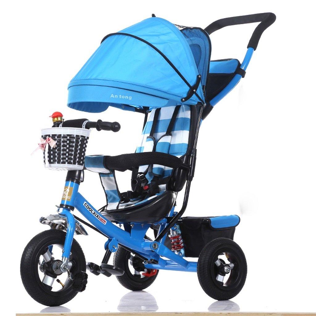 HAIZHEN マウンテンバイク 子供の三輪車調整オーニング折り畳み式ショックアブソーバー発泡ホイール自転車1-5歳では安全ベルトダブルバスケットベビーカーでプッシュロッド 新生児 B07DL7TWSG 4 4
