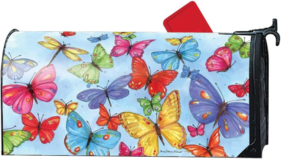 MailWraps Brilliant Butterflies Decorative Oversized Magnetic Mailbox Cover