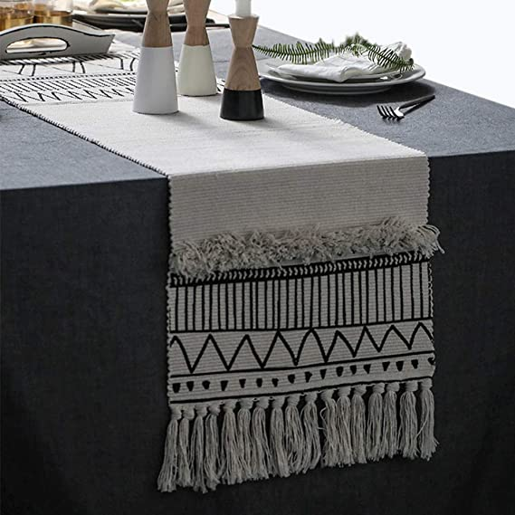 Kimode Moroccan Fringe Table Runner 14 X 87 In Bohemian Geometric Farmhouse Cotton Fabric Handmade Woven Tufted Tassels Table Linen Machine Washable Minimalist Home Decorative Black And White Home Kitchen