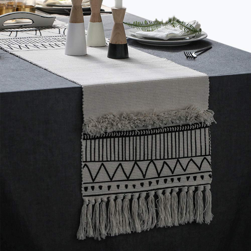 KIMODE Moroccan Fringe Table Runner, Bohemian Geometric Handmade Woven Tufted Cotton Canvas Fabric Decorative Table Runners Minimalist Home Decor,Black and White,14 in X 102 in