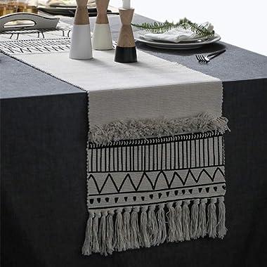KIMODE Moroccan Fringe Table Runner 14 X 87 in, Bohemian Geometric Cotton Fabric Handmade Woven Tufted Tassels Table Linen Machine Washable Minimalist Home Decorative, Black and White