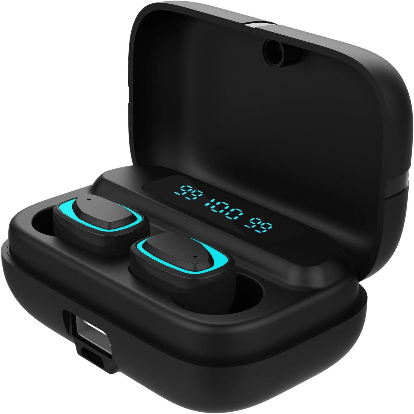 True Wireless Earbuds-QANGEL Mini Bluetooth Headphones TWS Stereo in-Ear Earphones Sweatproof Sport Headsets with Mic Charging Case,LED Digital Display, Smart Touch Control,Deep Bass,Bluetooth 5.0