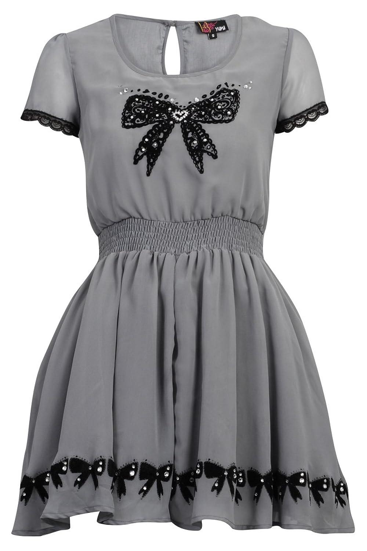 Yumi New Womens Grey Bow Lace Detail Ladies Chiffon Net Underlay Dress