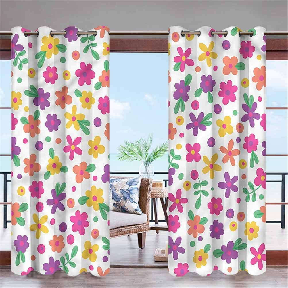 """ParadiseDecor Colorful Indoor/Outdoor for Garden Drapes Porch Gazebo Curtains Cheerful Kids Garden 84"""" W x 63"""" L"""