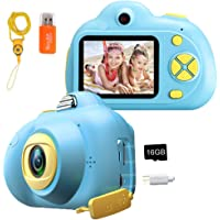 Kids Camera, Huafly 1080P Digital Video Camera 16MP Shockproof HD Dual Camera, Mini DIY Child Camcorder with Soft Silicone Shell, Best Boys Girls Age 3-10(16GB Memory Card and Card Reader Included)