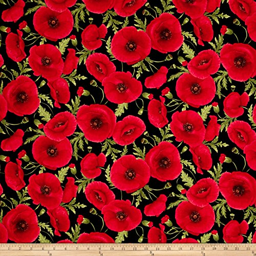Timeless Treasures Tuscan Poppies Tossed Poppies Black Fabric by The Yard ()