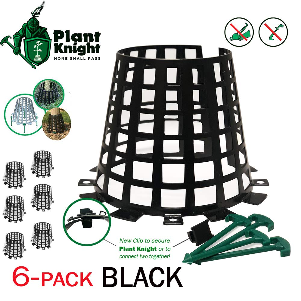 Plant and tree guard and protector for trees, plants, saplings, landscape lights, lamp posts, more; expandable for larger trees and plants; provides protection from trimmers, weed whackers (Black-6)