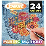 Best Fabric Markers (PACK OF 24 PENS) Non-Toxic - Set of 24 Individual Colors - NO DUPLICATES - Bullet Tip - Machine Washable Paint - Perfect for Writing on Clothes, Clothing, Jeans, Pants, and Shirts