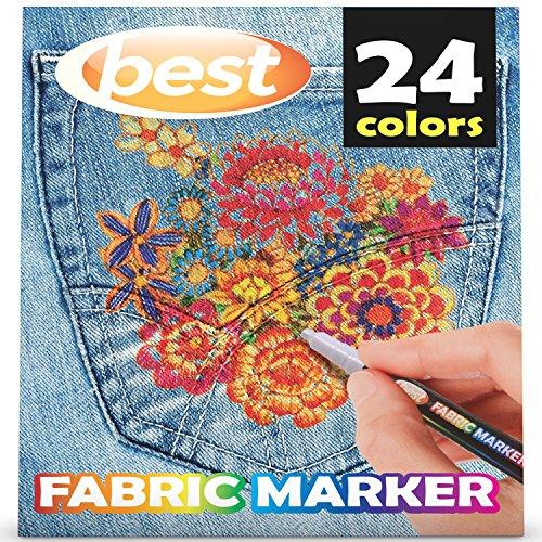 [해외]최고의 직물 마커 (24 개 팩) 무독성 - 24 가지 개별 색상 세트 - 이중 복사 없음 - 불릿 팁 - 기계 세척 가능 페인트 - 필기 도구 용/Best Fabric Markers (PACK OF 24 PENS) Non-Toxic - Set of 24 Individual Colors - NO DUPLICATES - Bullet Ti...