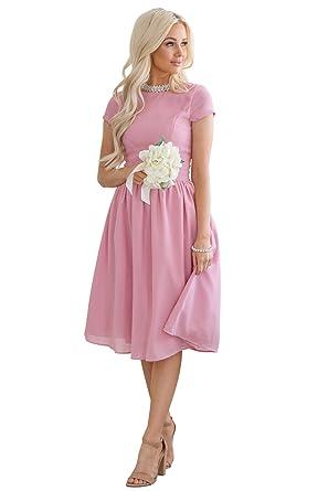 3f66d4cf62b6 Lucy Modest Chiffon Dress, Modest Bridesmaid Dress or Modest Prom Dress at  Amazon Women's Clothing store: