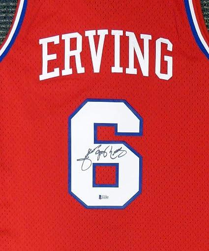 bdd7aed55 Philadelphia 76ers Julius quot Dr. J quot  Erving Autographed Red Mitchell    Ness Jersey Size