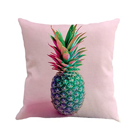 Hacoly Pineapple Throw Pillow Case Cushion Cover Textile Cotton Linen Printcloth Decor Print Square Fruit Pillowcases for Sofa/Bedroom/Car 18 x 18 ...