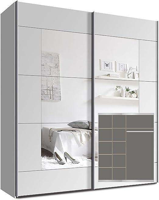 Armario Armario de puertas correderas, aprox. 200 cm, incluye 9 Estantes Blanco Espejo: Amazon.es: Juguetes y juegos