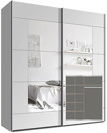 Kleiderschrank weiß mit spiegel  Kleiderschrank Schwebetürenschrank, ca. 180cm, inkl. 9 Einlegeböden ...