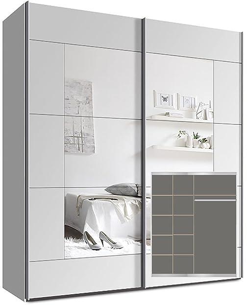 Kleiderschrank weiß mit spiegel  Kleiderschrank Schwebetürenschrank, ca. 180cm, inkl. 9 ...