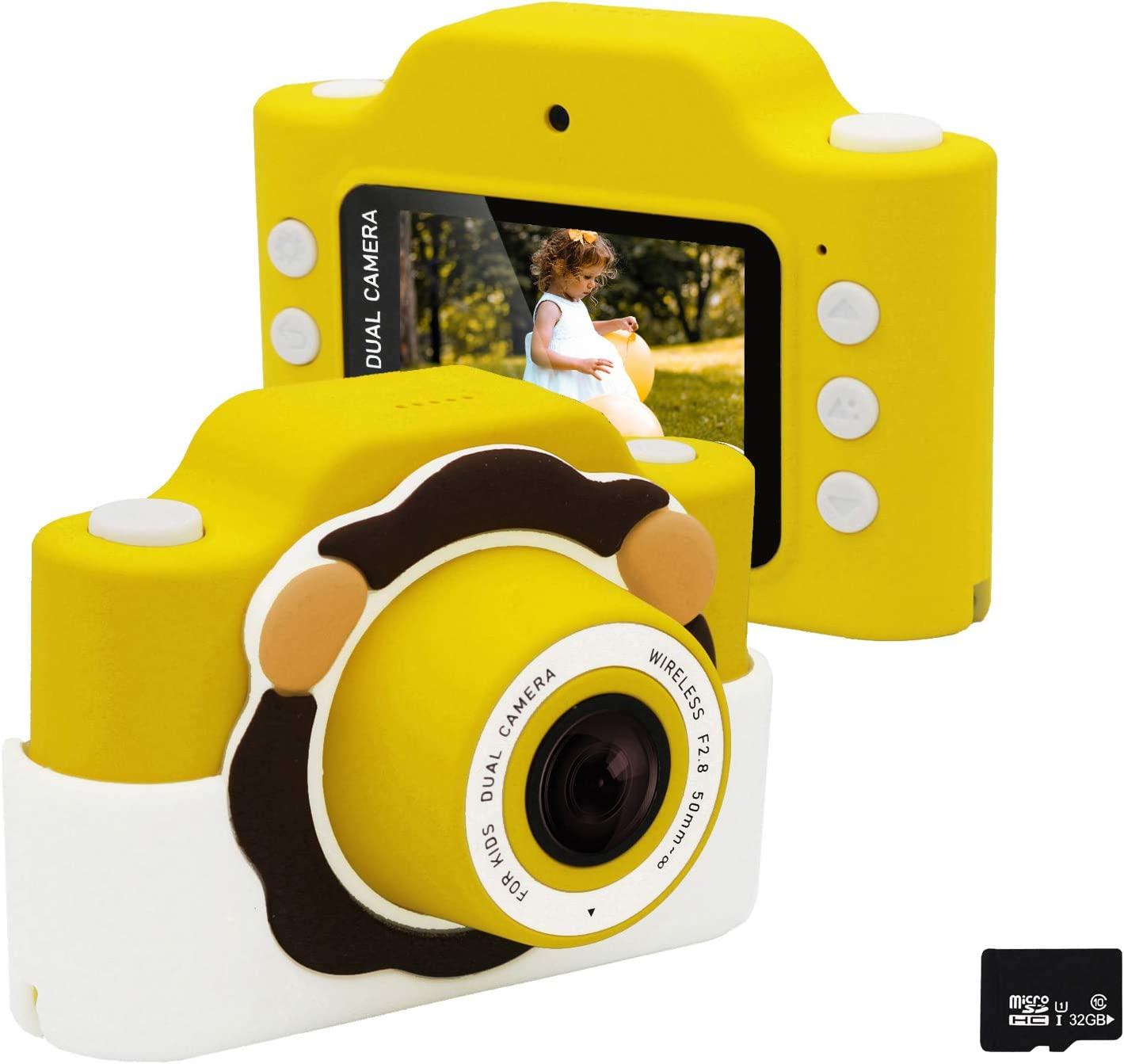 Gurmoir WiFi Kids Camera/Children Dual Camera 24MP HD 1080P Video Camcorder Camera 2.0 Inch Screen Anti-Shake Camera with Soft Case, Gifts for 3~12 Years Boys/Girls(with Phone APP)