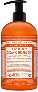 product image for Dr. Bronner's - Organic Sugar Soap (Tea Tree, 24 Ounce) - Made with Organic Oils, Sugar and Shikakai Powder, 4-in-1 Uses: Hands, Body, Face and Hair, Cleanses, Moisturizes and Nourishes, Vegan