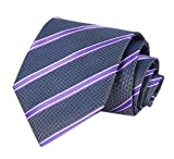 Men Purple Black Slim Tie Narrow Striped Jacquard Woven Office Matching Neckties