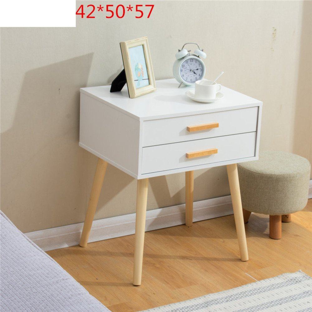 Nordic solid wood bedside table Simple modern bedside cabinet [japanese-style] Mini locker Living room storage cabinet-G 42x50x47cm(17x20x19)