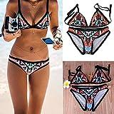 spaghetti strap geometric bikini - Focussexy Women 2pcs Geometric Print Padded Swimsuit Bikini Swimwear