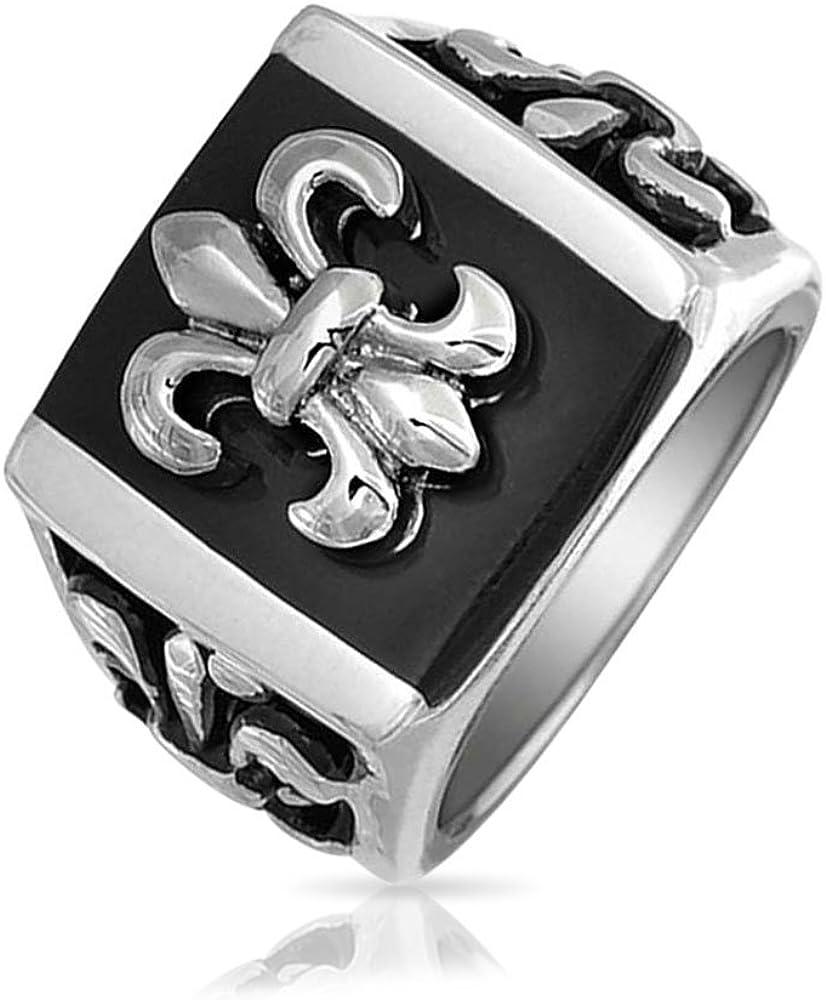 Mens Black Fleur De Lis Square Signet Ring for Men Silver Tone Stainless Steel