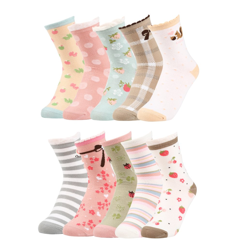 VBG VBIGER Girls Cotton Crew Seamless Socks Cute Novelty for Baby Toddler Kids 10 Pack ¡