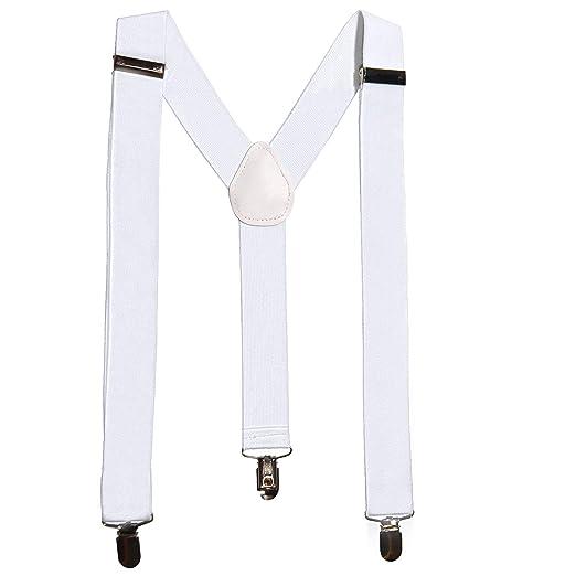 232f0e1a0 Angela Suspenders Men s Tuxedo Suspenders with Clip Widened Elastic  Suspenders-White at Amazon Men s Clothing store