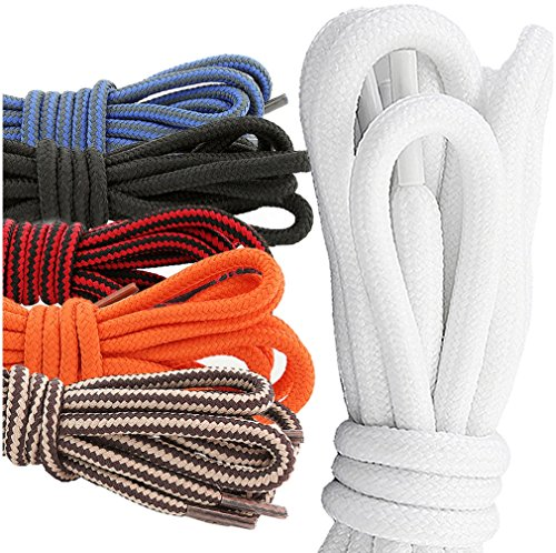 Stretchable Shoelaces (DailyShoes Round Hiking Boot Shoelaces Strong Durable Stylish Shoe Laces Denouement Laylah , (Great for Stretchable Shoelace) Black Red 36
