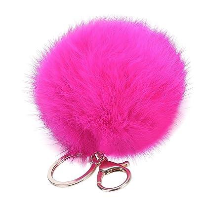Cosanter Lindo Pompon Llaveros Bola de Piel Decoración de Coche Bolso Llavero de San Valentín para Teléfono Coche Colgante 8 cm (Rosa roja)