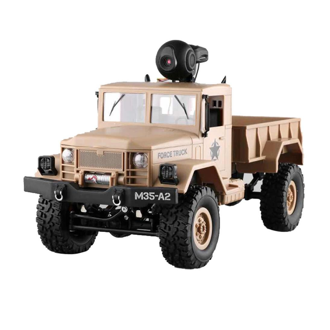 Vovomay RC Military Truck Army With WIFI 720P Camera 1:16 4WD Off-Road Car RTR APP Control (YELLOW)