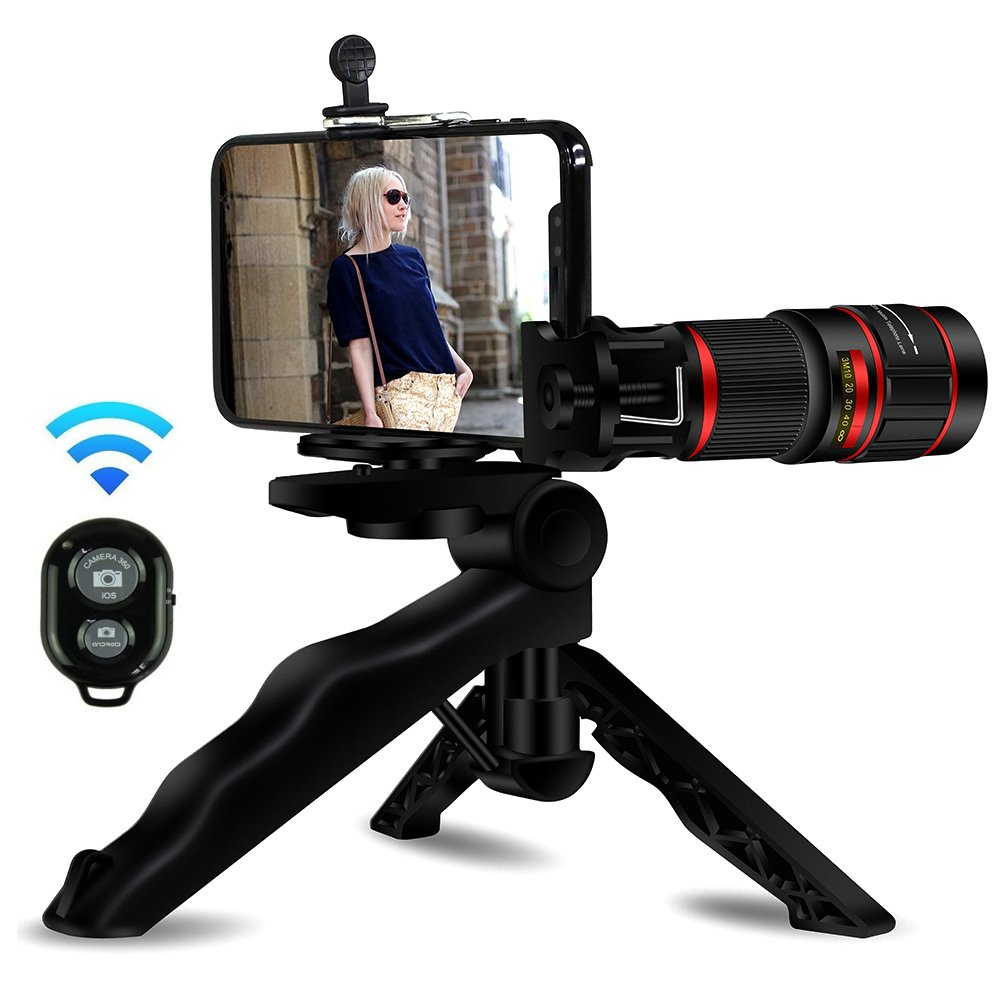 Phone Telephoto Lens, Aikeglobal Upgrades 20x Telephoto Lens, Mini Tripod, Wireless Remote Shutter,Photo Holder Compatible iPhone, Samsung,iPad and Most Smartphones