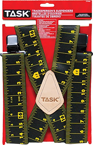 Task Tools T77419 Tape Measure Print Tradesperson's Suspenders, Full Elastic, Black -