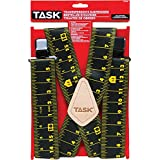 Task Tools T77419 Tape Measure Print Tradesperson's Suspenders, Full Elastic, Black