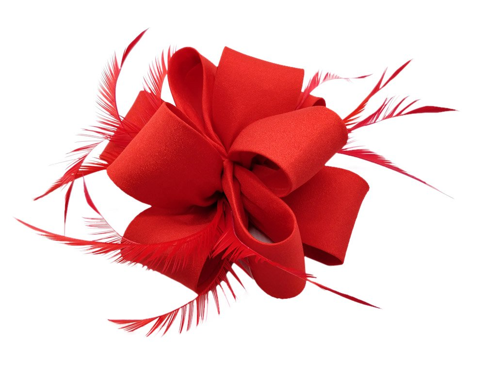Ahugehome Fascinators Hair Clip Headband Flower Feather Cocktail Weeding Tea Party Hat (HN Red)