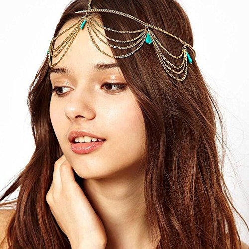 FXmimior Bridal Women Vintage Bohemian Head Chain Crystal Halloween Head piece Wedding Hair Jewelry