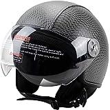 Woljay Leather Motorcycle Vintage Half Helmets Motorcycle Biker Cruiser Scooter Touring Helmet (M, Gray