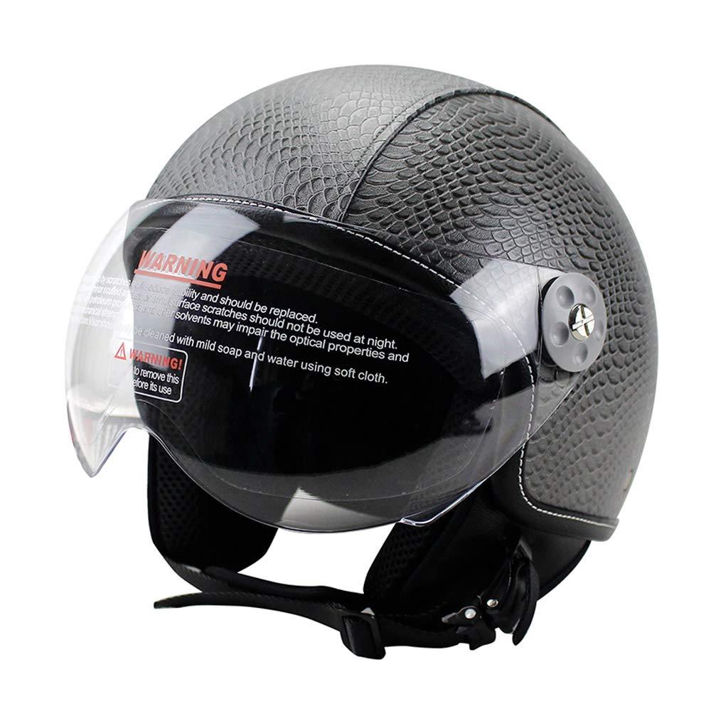 Woljay Leather Motorcycle Vintage Half Helmets Motorcycle Biker Cruiser Scooter Touring Helmet L, Black