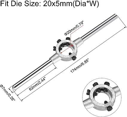 Die Stock Handle Wrench 20mmx5mm M3-M4 Metric Round Die Holder 2pcs