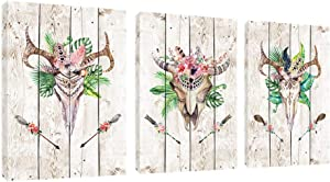 Yikg Flower Deer Skull Canvas Wall Art For Living Room Bedroom Decoration Prints Artwork for Home Walls Gallery Wrapped Framed Ready to Hang 12