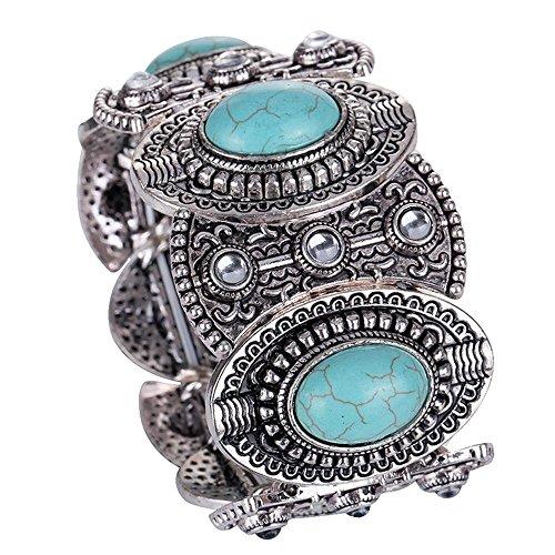 JUESJ Retro Nepal Bracelet National Style Bangle Silver Plated Turquoise Bracelet Jewellry