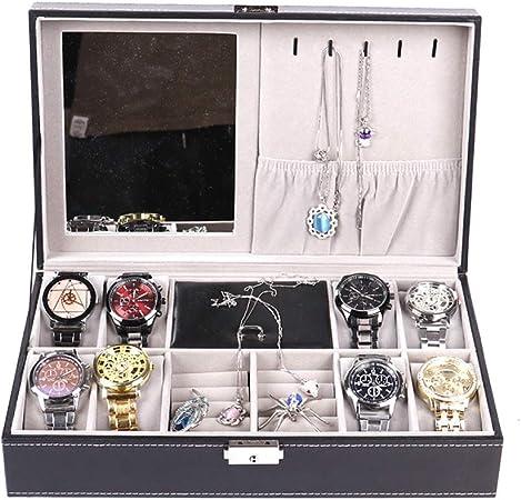 QXTT Caja para Guardar Relojes De Pulsera Joyero De Viaje Portátil Caja Joyero Organizador De Cuero para Anillos Collares Pulseras Pendientes: Amazon.es: Hogar