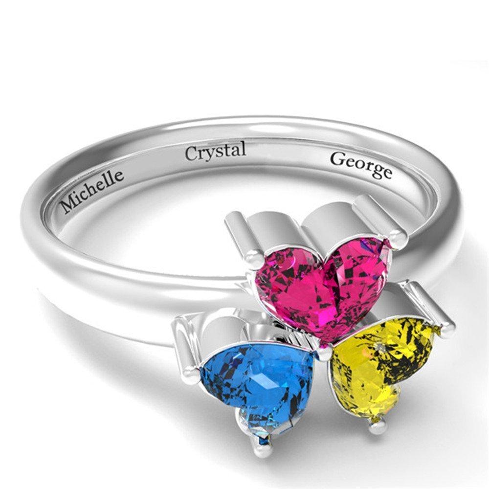 59749f221cd87 Amazon.com: Amandasessom Personalized Engrave Jewelry 3 Birthstone ...
