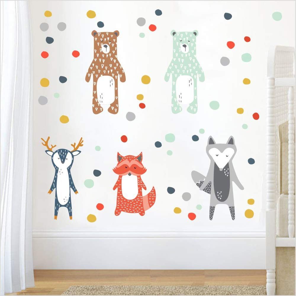Nordic Style Cartoon Giraffe Bear Fox DIY Wall Sticker for Kids Rooms Decoration Forest Animals Art Decal Kindergarten Wall Decor