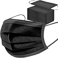 50 stuks zwarte wegwerpgezichtsmaskers, ademend, stofmasker, rekbare elastische oorlussen (zwart 50 stuks).