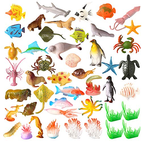 (Auihiay 46 Pieces Ocean Sea Animal Realistic Under The Sea Life Figures Plastic Animal Toys Set Bath Toy for Child Educational Party Cake Cupcake Topper)