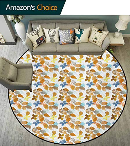 (RUGSMAT Leaves Modern Machine Washable Round Bath Mat,Autumn Foliage Pattern with Abstract Butterfly Snowflake Motifs Nature Illustration Non-Slip Soft Floor Mat Home Decor,Diameter-51 Inch)