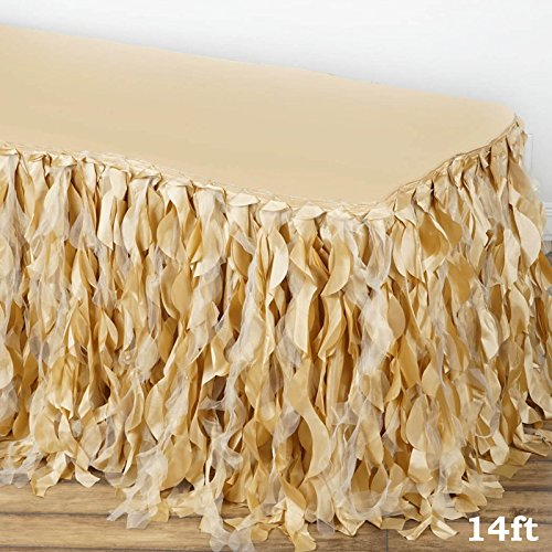 Efavormart 14ft Enchanting Curly Willow Taffeta Table Skirt for Kitchen Dining Catering Wedding Birthday Party Events - Champagne