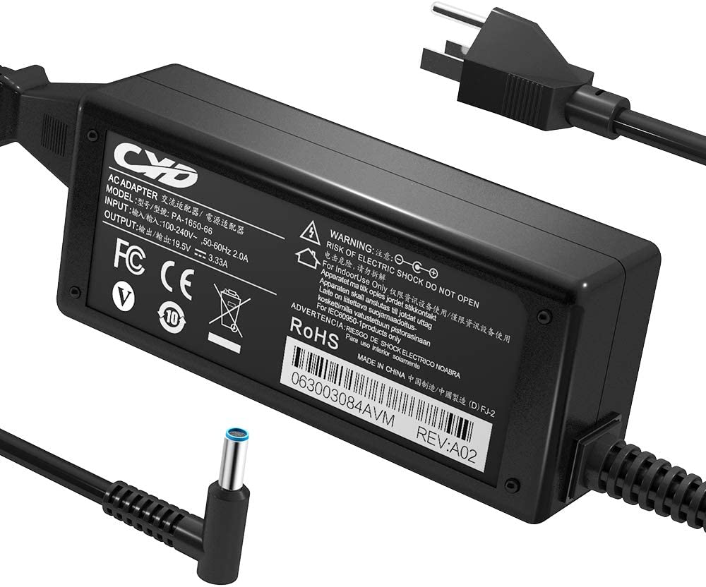 CYD 65W PowerFast Replacement for Laptop-Charger HP-ProBook 640 G2 450 G3 455 470 G3 PA-1650-32HE 709985-001 15-F009WM 15-F023WM Spectre X360 Stream 11 13 14 Elitebook 840 G3 Notebook Blue Tip Adapter