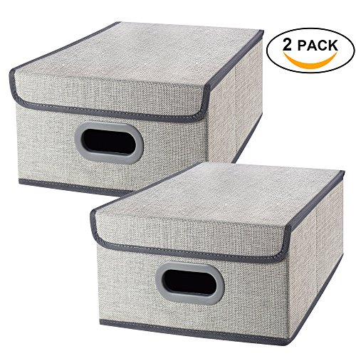Fantastic Deal! Foldable Storage Bins Cube boxes with Lids, Linen polyester Closet Basket Fabric Org...
